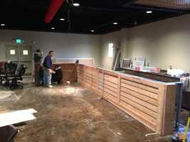 The bar build under way earlier this winter.