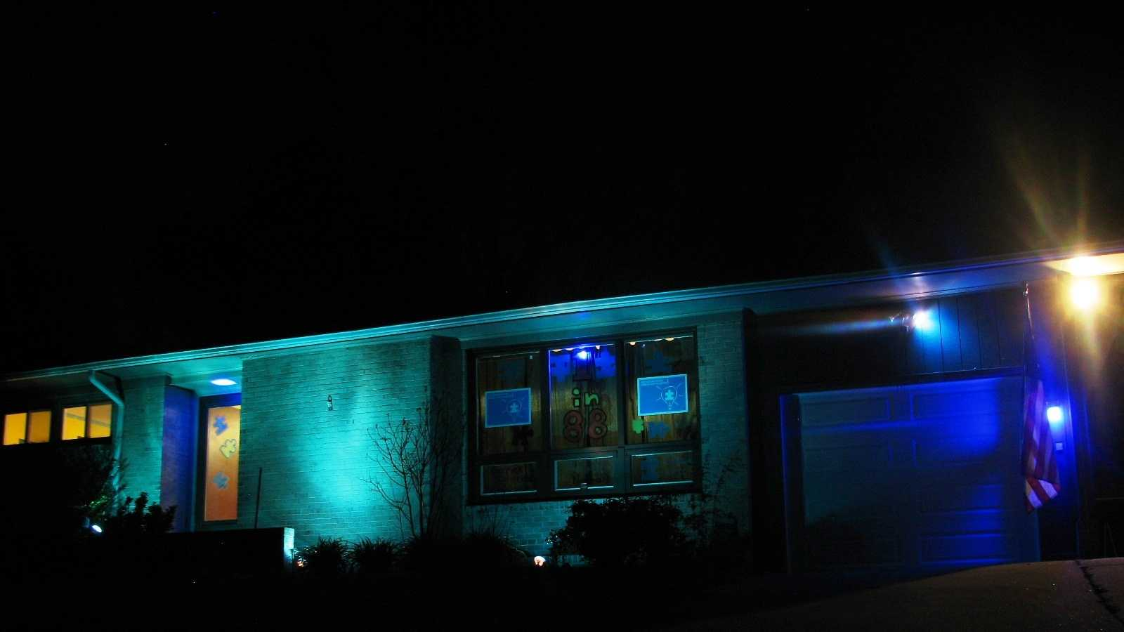 The Howle family home has blue lights on display as part of April's Autism Awareness Month