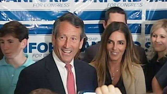 File photo: Former South Carolina Gov. Mark Sanford celebratig his primary runoff victory with his fiancee by his side.