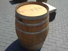 Wine barrels, donated by The Biltmore Estate, will serve as tables.