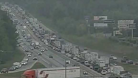 A shot at Pelham Road and I-85... backup from wreck