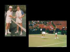 John has played tennis with Boris Becker, John McEnroe and Rob Laver.