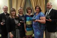 Monday night WYFF News 4 hosted all the winners of this years Golden Apple awards at a banquet. This is Beth Brotherton with the 4 finalists and this year's Teacher of the Year Holly Kopp (to the right of Beth).