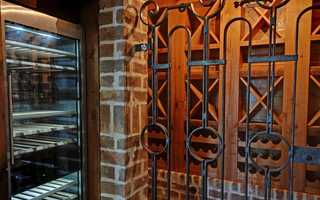 The wine cellar has an antique gate from Barcelona.
