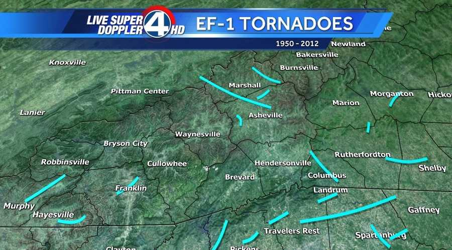 The data is broken down by tornado scale starting with EF-1 going though EF-4. There has not been an EF-5 in our area in that time frame.