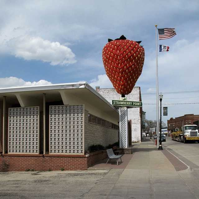 Strawberry Point, Iowa is home to the 'World's Largest Strawberry,' which sits atop city hall.