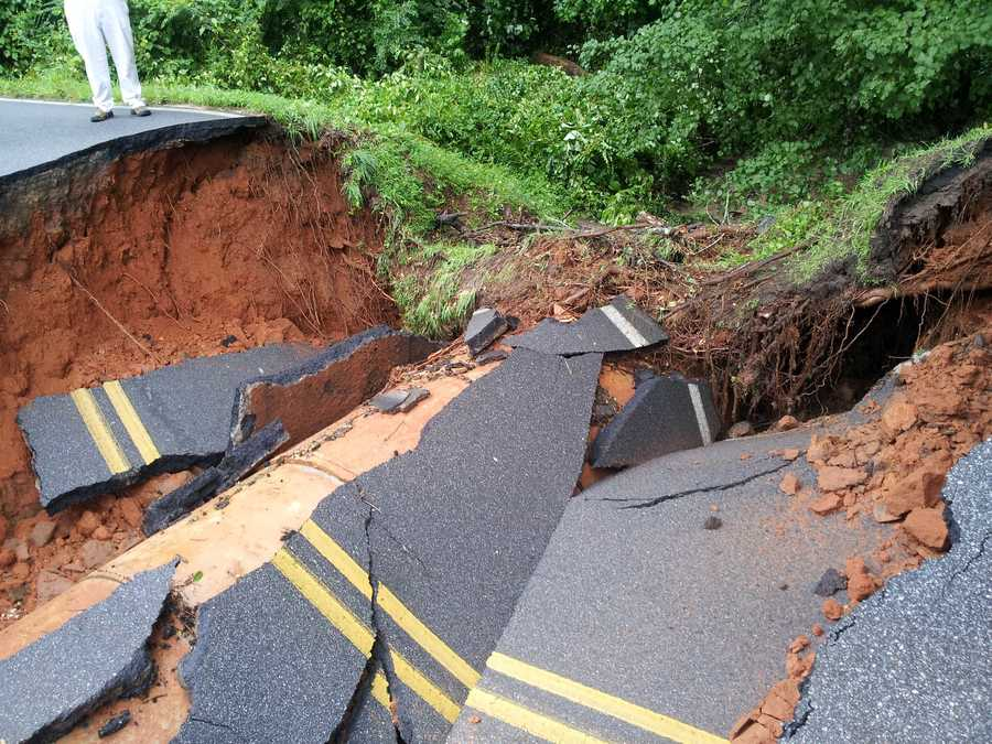 A large section of Gerrard Road in Anderson County washed away during the rain.