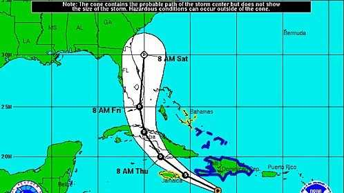 Chantal projected path Wed am