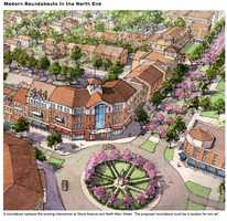 How the completed project with the roundabout in place is envisioned.