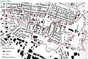 This map show the existing buildings in black. The red line is the project boundary.