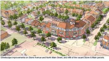 This is an elevation to show what the Towngate development on the corner of Stone and Main could look like, with a mix of residential, commercial and retail.