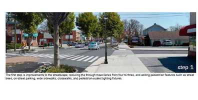 This shows the pedestrian-oriented improvements and streetscaping.