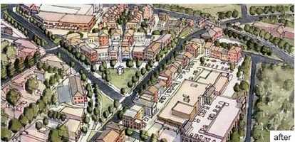 This is the envisioned development for the Wade Hampton triangle.