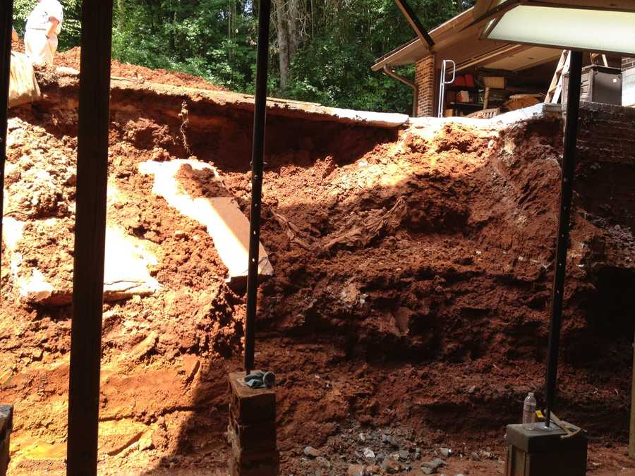 The recent heavy rain caused the basement of a Clemson home to collapse.
