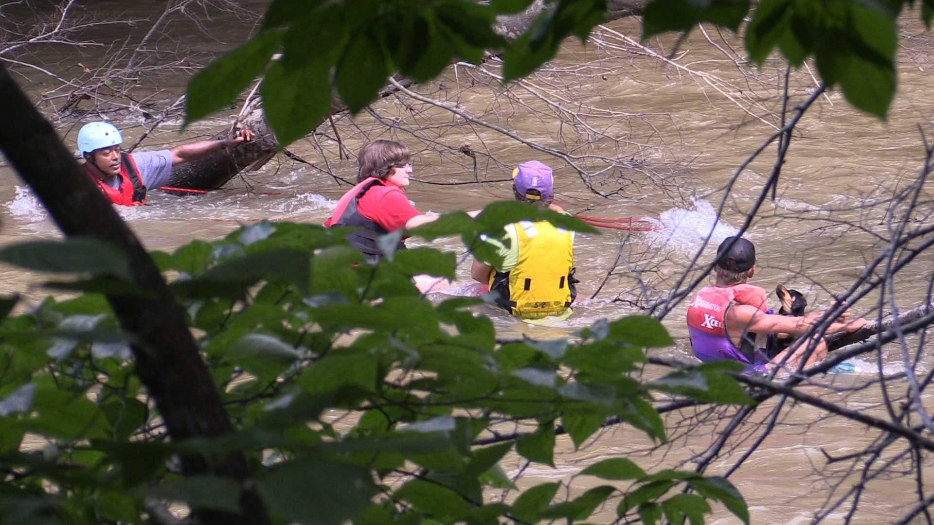 3 rescued along Saluda River