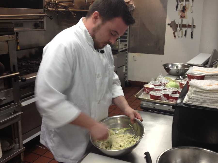 At one of the top secret locations, the chef shared the preparation of slaw to go with fried green tomatoes with News 4's Mike McCormick.