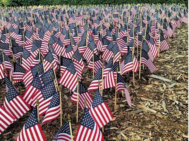 At Furman, Conservative Students for a Better Tomorrow planted 3,000 flags in front of the James B. Duke Library in memory of the victims of 9/11.