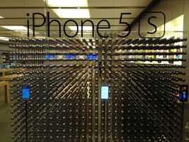 People lined up early at Haywood Mall to get their hands on the new iPhone.