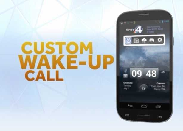 The WYFF News 4 Alarm Clock app offers you a custom wake-up call.  iTunes | Google Play