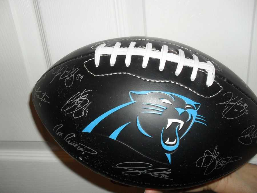 Carolina Panthers football signed by the 2013 team
