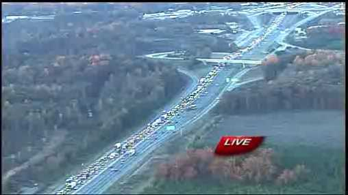 The view from Sky 4 shows traffic backed up for more than four miles.