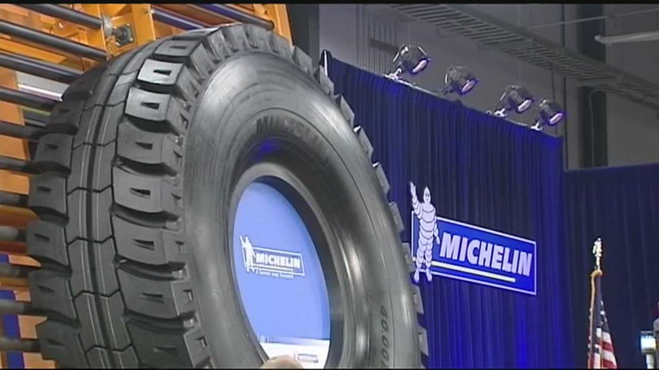 The first massive Michelin Earthmover tire has rolled off the assembly line at the tire maker's new Anderson County plant
