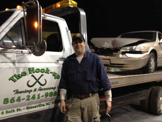 Jason Cox of The Hook-up Towing & Recovery says he has responded to 14 accidents since 3:30 p.m. yesterday and hasn't slept a wink since.