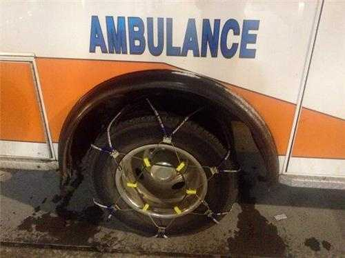 First responders like EMS, fire have snow chains on for extra traction.