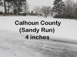 Calhoun County was a tie for the most snow in SC.