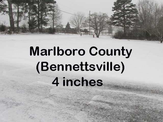 Marlboro County tied with Calhoun County for the most snow in the state.
