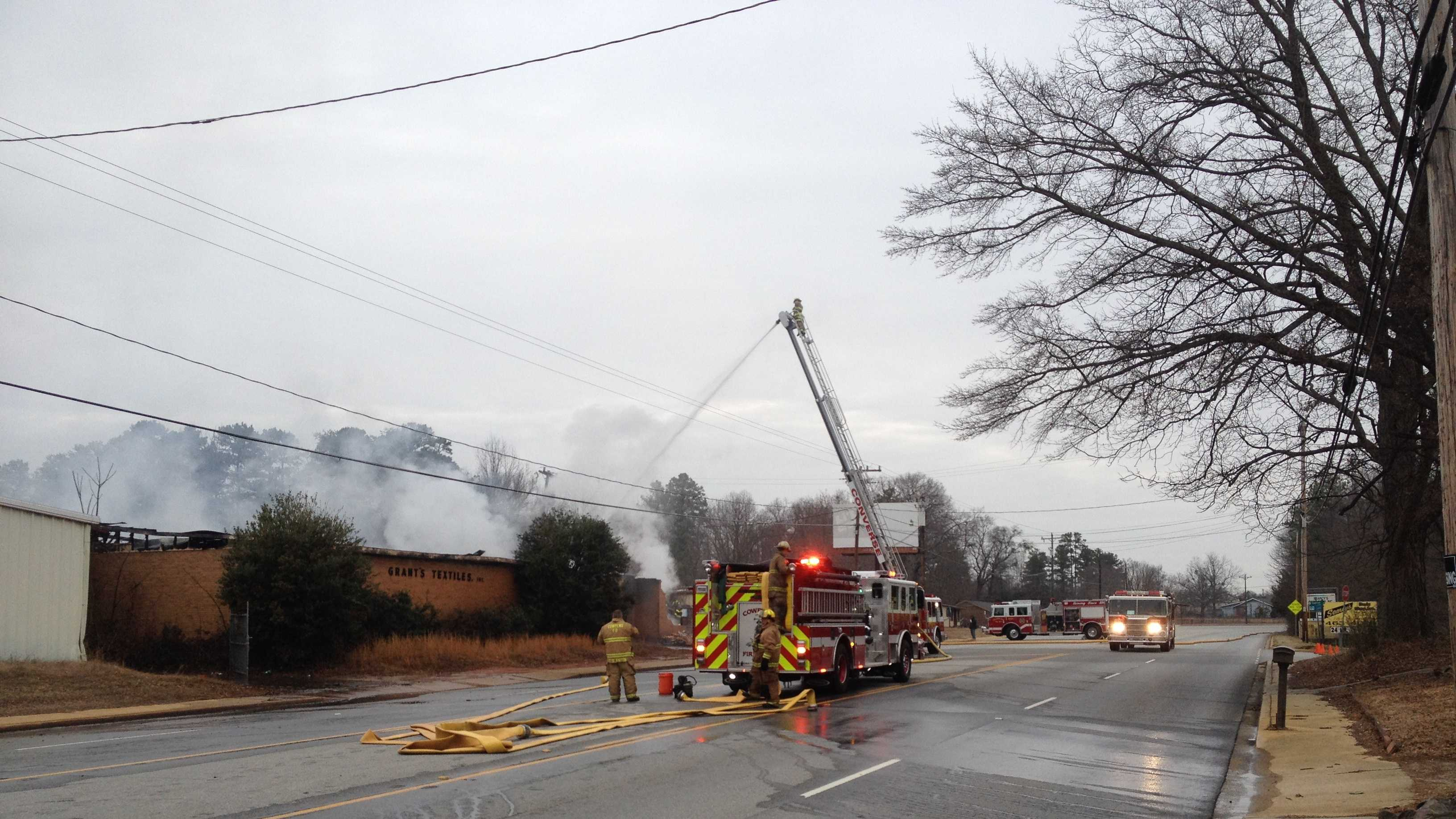 Converse Fire Department responds to blaze at the old Grant Textile Business