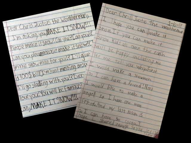Mr. Dearybury's second graders at Woodland Heights Elementary in Spartanburg REALLY want Chris Justus to make it snow, and they wrote letters making their requests (and in some cases, their bribes) known.