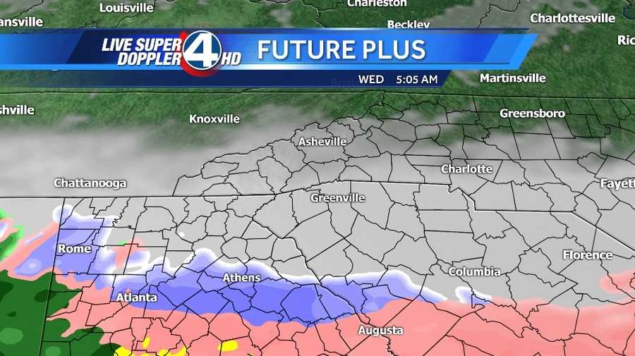 Here are the snow prediction maps for Wednesday. The pink indicates sleet or freezing rain. The blue indicates heavy snow. The white indicates snow.