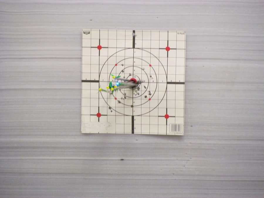 Nigel's arrow is the farthest left green and yellow one. Not bad for his first shot!