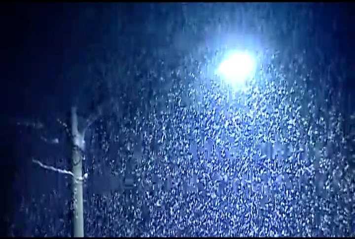 Light illuminates the falling snow in Clyde, N.C.