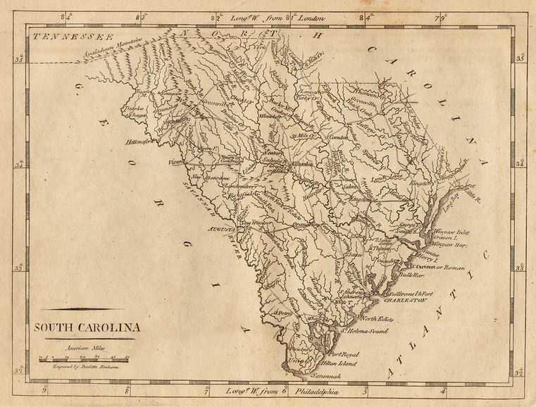 South Carolina's area is 32,007 square miles.