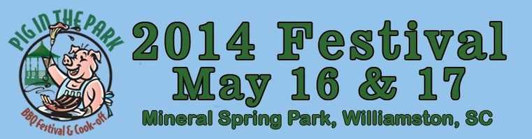 The Pig in Park Festival is May 16-17 at Mineral Spring Park in Williamston. The festival includes a BBQ competition, craft vendors, a children's play area. For more information: http://www.williamstonpiginpark.com/