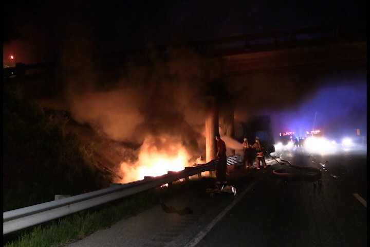 A UPS truck was involved in a fiery crash on I-85 Thursday night.  Click through to see pictures from the scene.