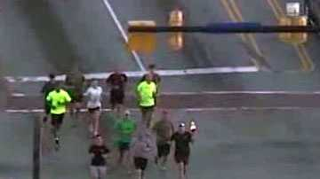 A shot from Sky 4 shows runners carrying the torch through Simpsonville Thursday on their way to Columbia.