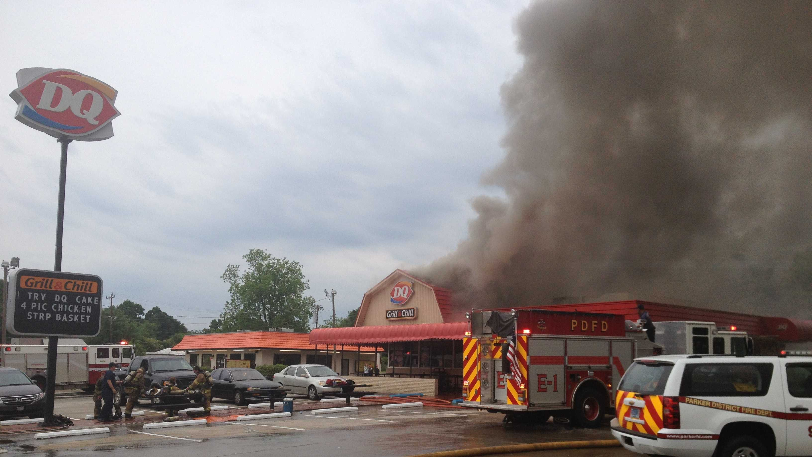 Firefighters responded to a fire at the Dairy Queen in Greenville Friday.