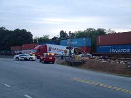 A train hit the back of a tractor trailer on South Granard Street at W. Rutledge Avenue in Gaffney Wednesday morning.