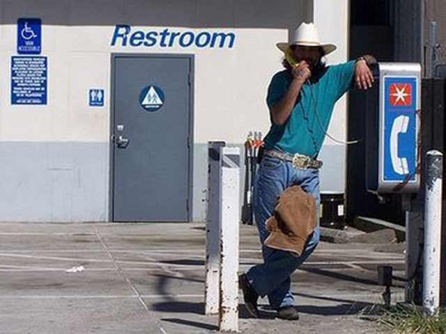 You may not change clothes in a public restroom, including gas stations, without permission of the owner.
