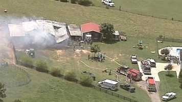 Three dogs died in a barn fire Wednesday afternoon. The barn at J4 Farm Quarters Horses on Breazeale Drive in Williamston caught fire around noon.