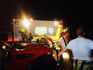 Emergency crews worked into the night.