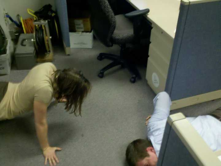 A few years ago, Angela won an impromptu newsroom push up contest by cranking out 54.