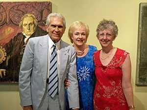 Johnny Mann with his wife, Betty, and Kathryn Smith, who co-wrote Mann's memoir.