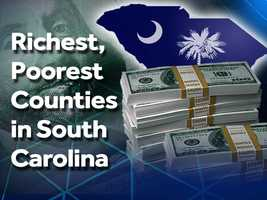 A look at what counties are the richest and poorest in South Carolina according to the median household income in each county. This data is from the US Census Bureau.