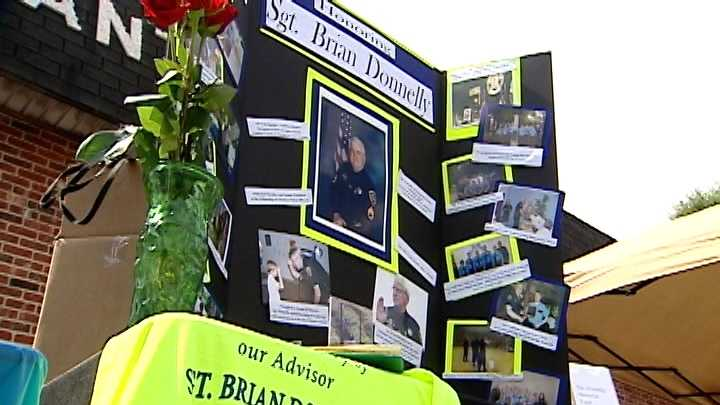 Photos of Sgt. Brian Donnelly were on display at a community safety event in the late Greenville County deputy's honor.