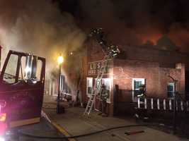 Crews fought the fire from the ground and on the roof.