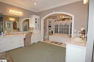 The master bath has a Jacuzzi tub, walk in shower, long vanity/sink, counters, and linen closet.